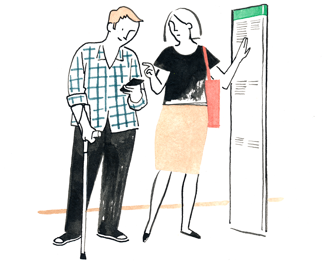 People at a bus stop